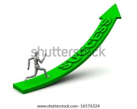 Quality render of a model running up an arrow with success on it. Perfect for chasing success or successful concepts.