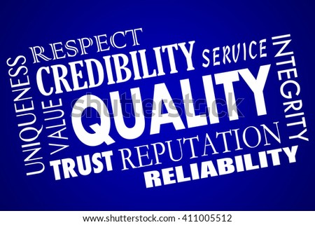 Quality Reputation Value Respect Competitive Advantage Word Collage - stock photo