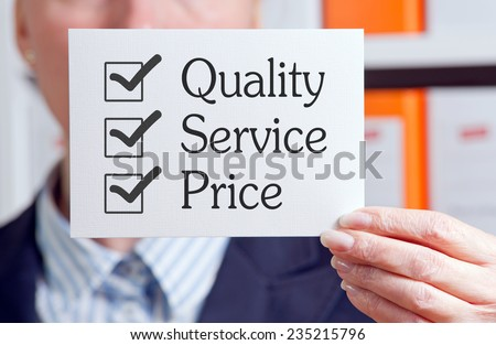 Quality - Service - Price - stock photo