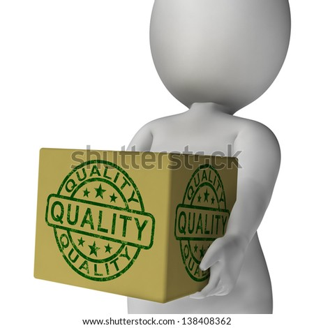 Quality Stamp On Box Showing Excellent Superior Premium Product - stock photo