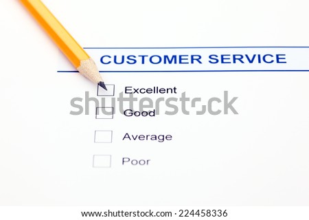Quality survey and pencil. - stock photo