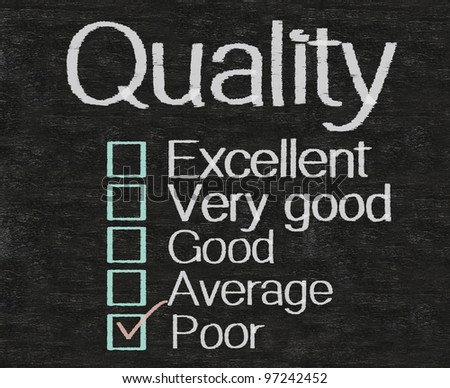 quality with rate written on blackboard background