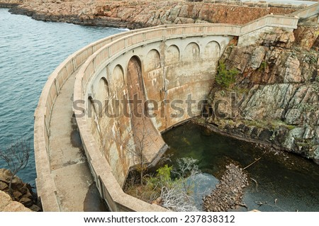 Quanah Parker Dam in the Wichita Wildlife Refuge in Oklahoma - stock photo
