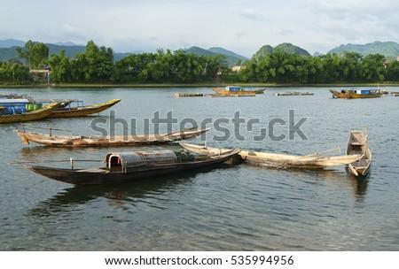 QUANG BINH, VIETNAM, November 12, 2016 fishing boats of the fishermen, rural Quang Binh, Vietnam. moored on the river