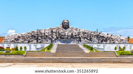 Quang Ngai, Vietnam, June 26, 2015: Architectural beauty statue women Vietnam's biggest hero, this is biggest monument in Southeast Asia is made of granite 101m long 18m high in Quang Ngai, Viet Nam