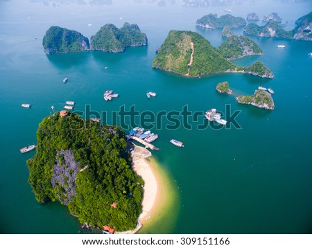 QUANGNINH, VIETNAM, AUGUST 22, 2015. Beautiful seascape with Titov island in Halong bay from high view. Halong bay is World Natural Heritage of Quang Ninh Vietnam.