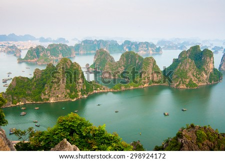 QUANGNINH, VIETNAM, July 13, 2015. Beautiful seascape from Bai Tho mountain in Halong bay. Halong bay is World Natural Heritage of Quang Ninh Vietnam.