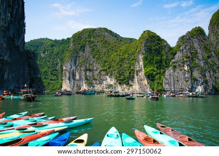 QUANGNINH, VIETNAM, July 12, 2015. Floating village in Halong bay. Halongbay is World Natural Heritage of Quang Ninh Vietnam.
