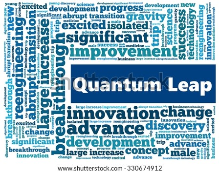 Quantum Leap in word collage - stock photo