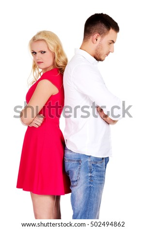 Quarreling couple not talking to each other
