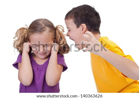 Quarreling kids - boy shouting to girl - isolated - stock photo