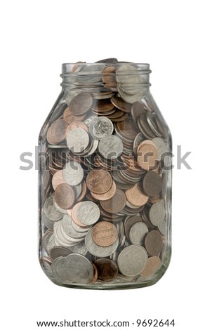 quart jar full of coins, pennies,nickels,dimes and quarters, with clipping path - stock photo