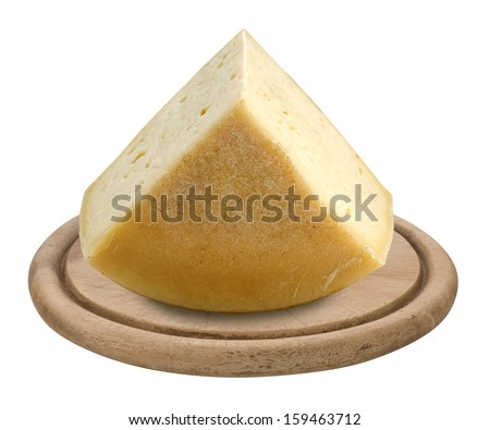 quarter of a form of Asiago cheese - stock photo