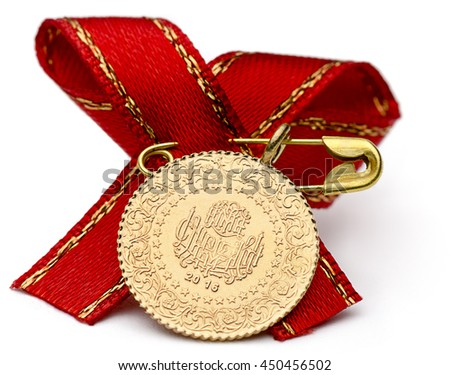 Quarter Turkish Gold Coin with Ribbon - stock photo