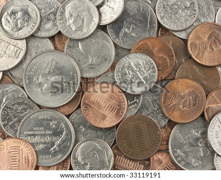 Quarters, dimes, nickels, and pennies - stock photo