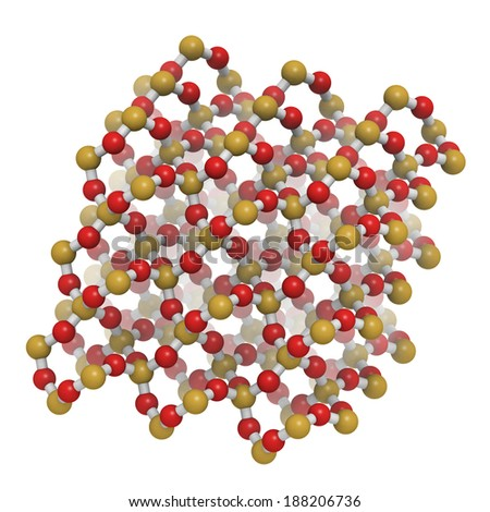 Quartz (a-quartz, SiO2) crystal structure. Atoms are represented as spheres with conventional color coding: silicon (orange), oxygen (red). - stock photo