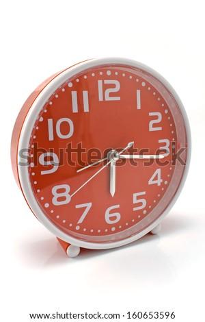 Quartz alarm clock isolated on white    - stock photo