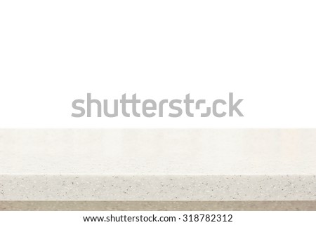 Quartz stone countertop on white background - can be used for display or montage your products - stock photo