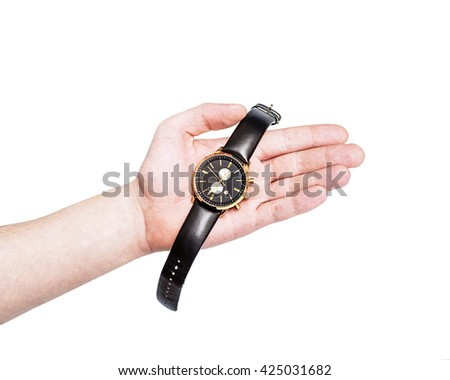 Quartz watches with a leather strap, white background, businessman checking the time on his watch, Watch on wrist isolated over a white background, modern wristwatch