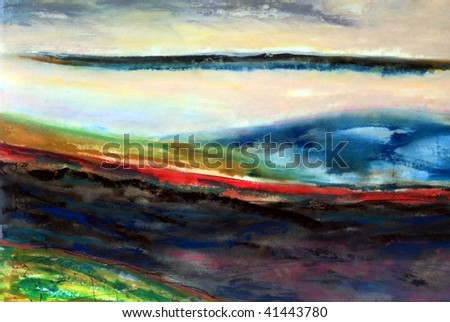 Quasi abstract background painting of a clouded vista. - stock photo
