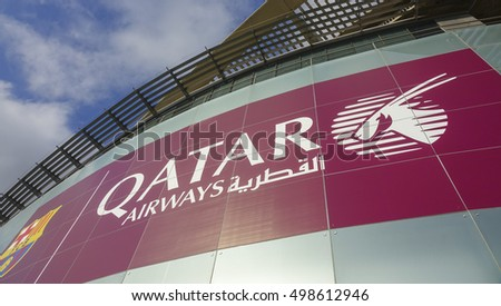 Quatar Airways advertising at Camp Nou in Barcelona - BARCELONA / SPAIN - OCTOBER 5, 2016