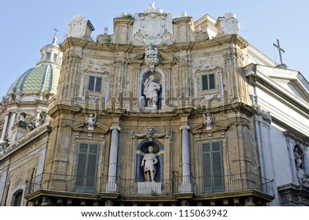 Quattro Canti - is a Baroque square in Palermo, Sicily, southern Italy. - stock photo