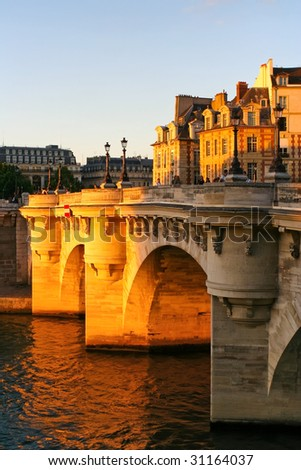 Quay in Paris in sunshine - stock photo