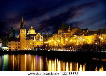 Quay Prague beautiful night landscape - stock photo