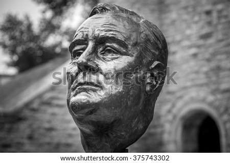 Quebec, Canada - August 21, 2009 :  bronze statue of Franklin Delano Roosevelt to commemorate  strategic meetings held in 1943-1944. by Allied leaders during World War II, in Quebec