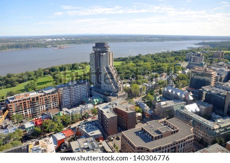 Quebec City and St Lawrence River Aerial view in summer, Quebec, Canada - stock photo