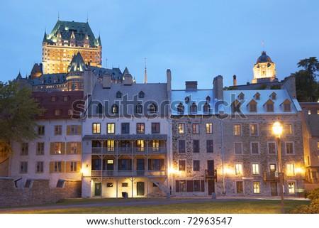 Quebec City at dusk, Canada - stock photo