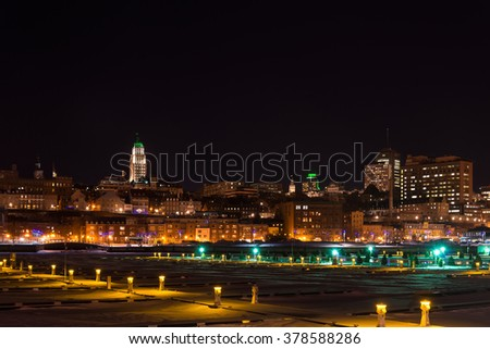 Quebec city at night in the winter (Quebec,Canada) - stock photo