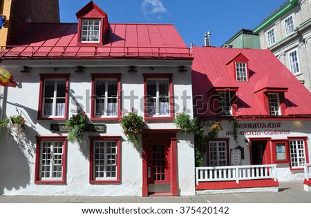 QUEBEC CITY, CANADA - SEP 10: French Style Restaurant Aux Anciens Canadians on Rue Saint Louis on September 10, 2011 in Old Quebec City, Quebec, Canada. Old Quebec City is UNESCO World Heritage Site.