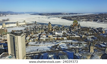 quebec city shot with st-lawrence river and chateau frontenac - stock photo