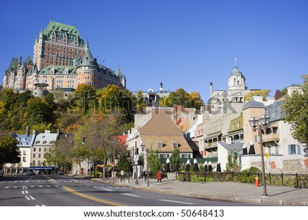 Quebec City skyline, Chateau Frontenac - stock photo