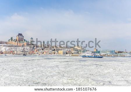Quebec City Skyline in Winter - stock photo