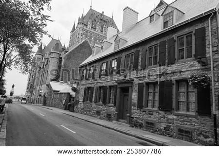 quebec city streets view in b&w - stock photo