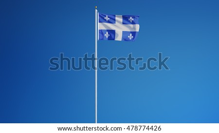 Quebec flag waving against clean blue sky, long shot, isolated with clipping path mask alpha channel transparency