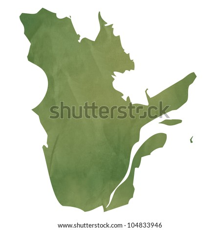 Quebec province of Canada map in old green paper isolated on white background. - stock photo