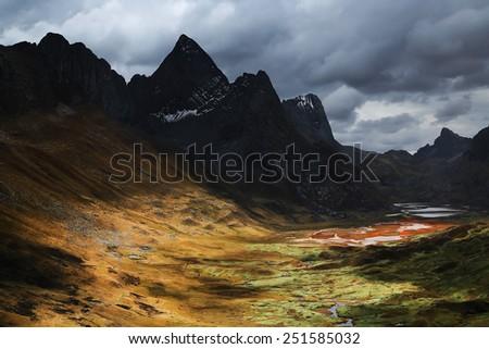Quebrada Caliente in Cordiliera Huayhuash, Peru, South America - stock photo