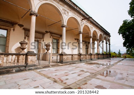 Queen Anne Summer Palace, built in 1538-1565. Renaissance style buildings in the Royal garden in Prague. - stock photo