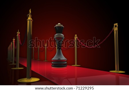 Queen chess on red carpet  3d render - stock photo