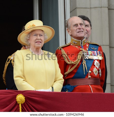 Queen Elizabeth II and the Duke of Edinburgh attend the Trooping Of The Colour at Horse Guards Parade, London, UK. June 16, 2012, Picture: Catchlight Media / Featureflash - stock photo