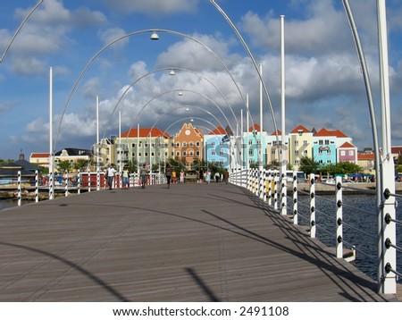 Queen Emma Pontoon Bridge (Willemstad, Curacao) - stock photo