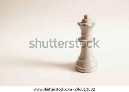 Queen from white set (chess) - stock photo