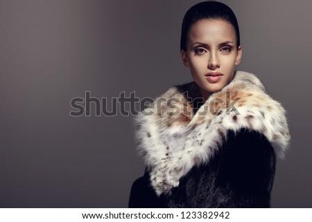 Queen in the fur - stock photo