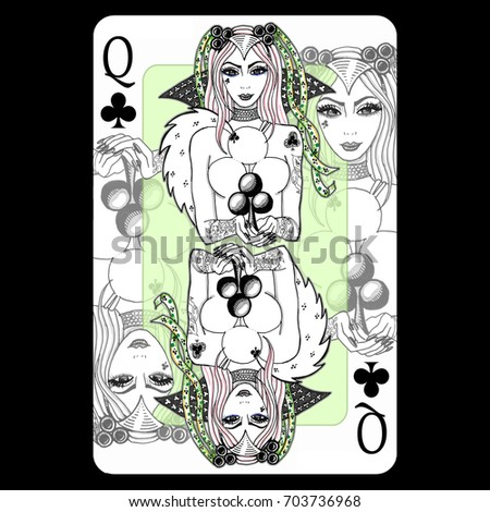 Queen Of Clubs Playing Card Design Hand Drawn Illustration Digitally Colored