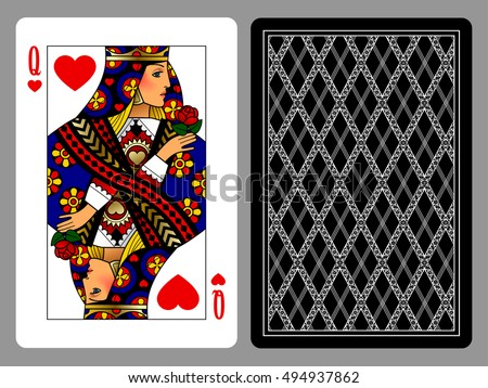 Queen Of Hearts Playing Card And The Backside Background Colorful Original Design