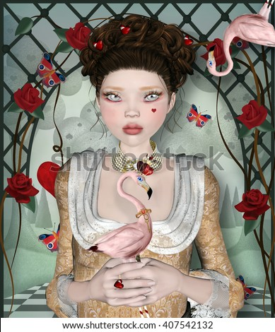 Queen of hearts surreal portrait - 3D and digital painted illustration - stock photo
