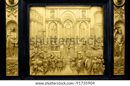 Queen of Sheba and King Solomon, Gates of Paradise, Florence - stock photo